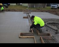 Edging work on slab